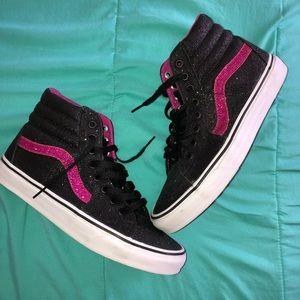 Black and Pink Glitter Sk8-Hi Vans